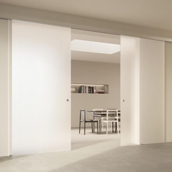 Scenario Visio with Chillout Satinato Extrachiaro Bianco glass